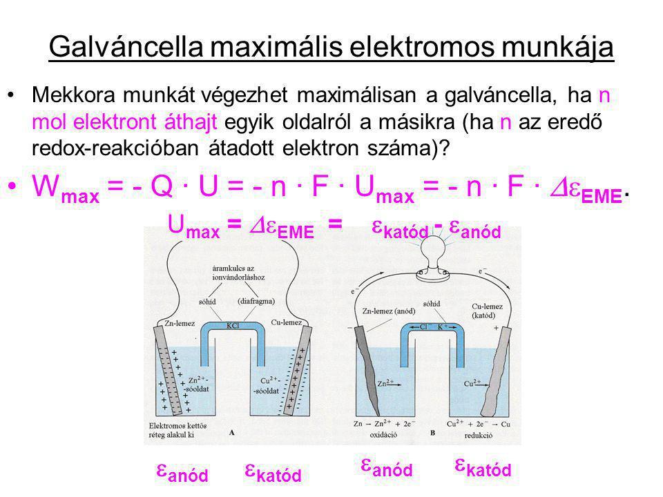 Galváncella maximális elektromos munkája Mekkora munkát végezhet maximálisan a galváncella, ha n mol elektront áthajt egyik oldalról a másikra (ha n a
