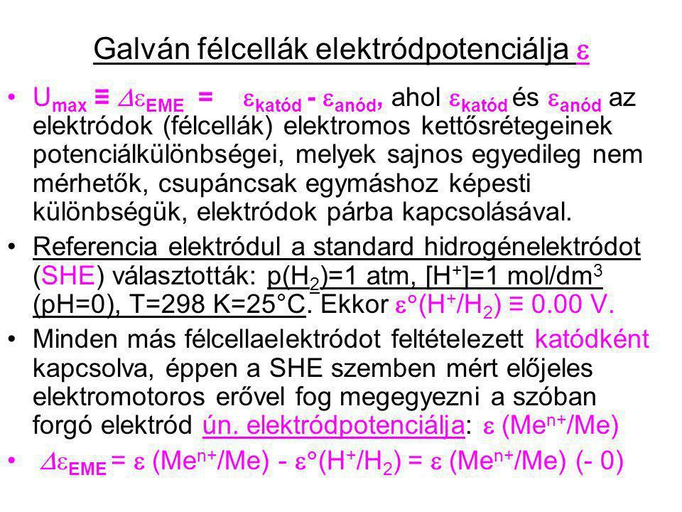 Galván félcellák elektródpotenciálja  U max ≡  EME =  katód -  anód, ahol  katód és  anód az elektródok (félcellák) elektromos kettősrétegeinek