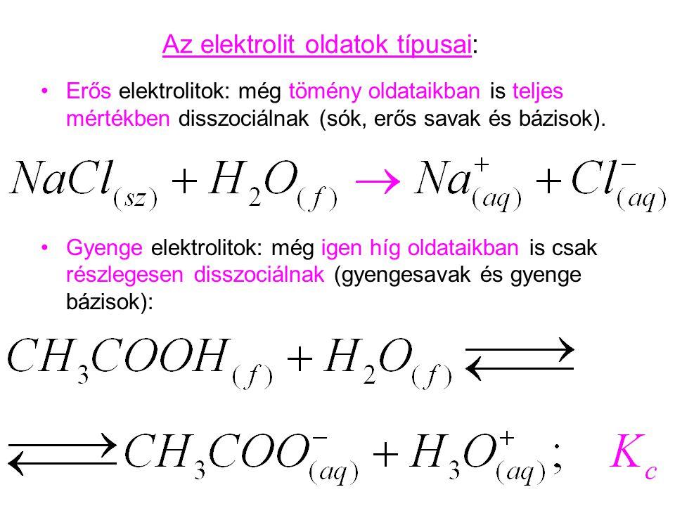 Az elektrolit oldatok típusai: Erős elektrolitok: még tömény oldataikban is teljes mértékben disszociálnak (sók, erős savak és bázisok). Gyenge elektr