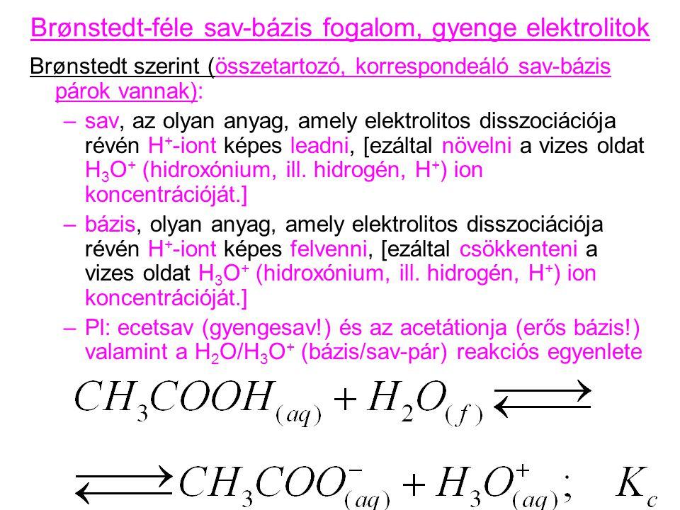 Brønstedt-féle sav-bázis fogalom, gyenge elektrolitok Brønstedt szerint (összetartozó, korrespondeáló sav-bázis párok vannak): –sav, az olyan anyag, a