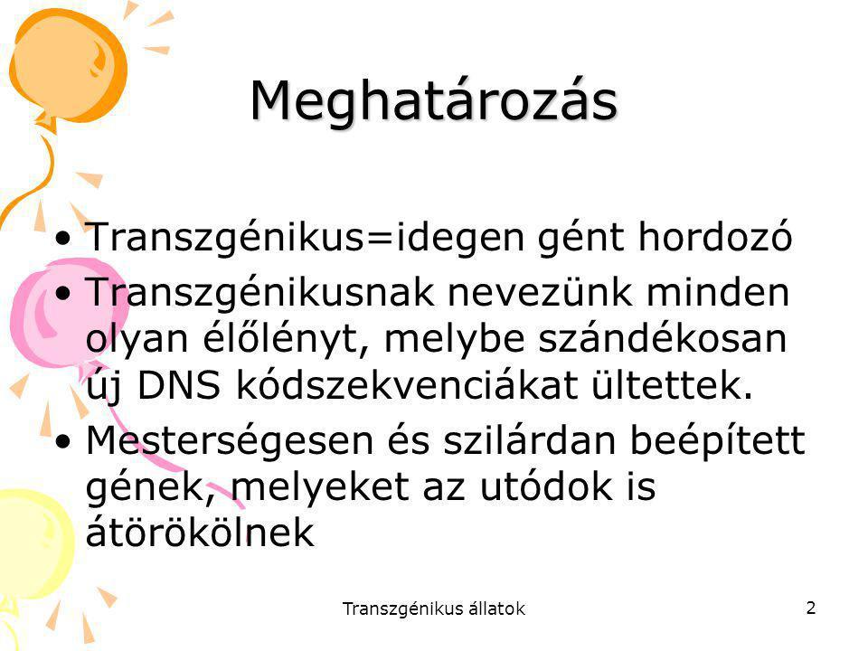 Transzgénikus állatok 2 Meghatározás Transzgénikus=idegen gént hordozó Transzgénikusnak nevezünk minden olyan élőlényt, melybe szándékosan új DNS kóds