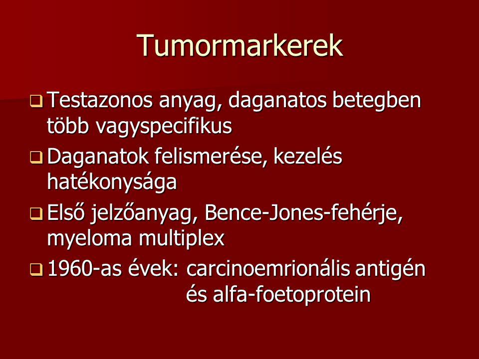 Tumormarkerek  Csoportosítás: képződés/kimutatás helye szerint  Kimutatás helye szerint: celluláris és extracelluláris  jelzőanyag lehet: hormon,fehérje,peptid,emzim  Jelentőség: diagmosztikában, de nem specifikus