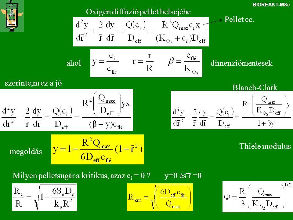 BIOREAKT-MSc Oxigén diffúzió pellet belsejébe dimenziómentesek Thiele modulus Milyen pelletsugár a kritikus, azaz c i = 0 ? y=0 és r =0 ahol Blanch-Cl