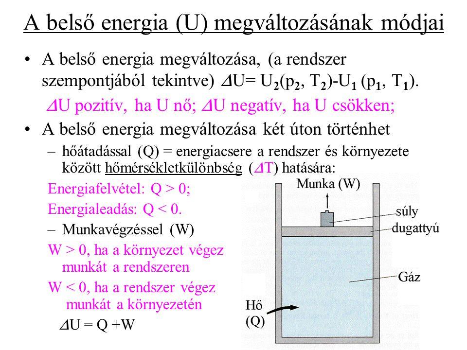 A belső energia (U) megváltozásának módjai A belső energia megváltozása, (a rendszer szempontjából tekintve)  U= U 2 (p 2, T 2 )-U 1 (p 1, T 1 ).