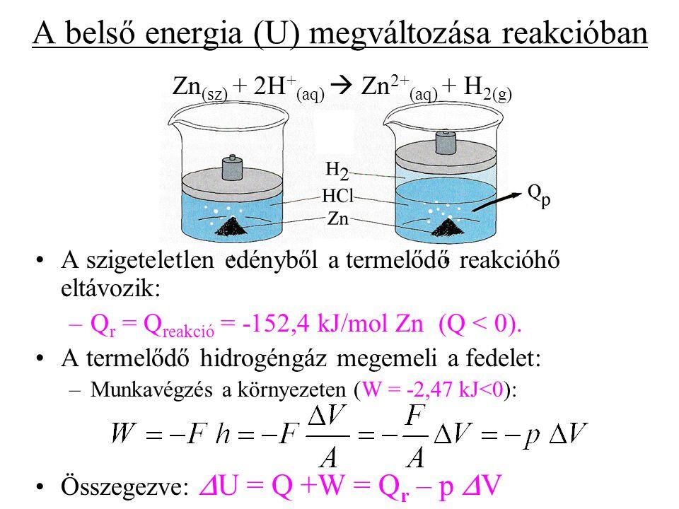 """A belső energia megváltozása állandó nyomáson:  U = Q +W = Q r – p  V, ahonnan átrendezéssel az állandó nyomáson mérhető reakcióhő kifejezhető a következőképpen: Q r =  U + p  V = = (U 2 + pV 2 ) - (U 1 + pV 1 )= = H 2 - H 1 =  H, ahol az U+pV=H típusú mennyiséget """"entalpiának nevezve, a korábban megismert entalpiakülönbség adódik, ami megadja valóban a reakcióhőt."""