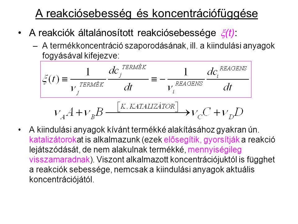 """A reakciósebesség koncentrációfüggése: (kinetikai tömeghatás törvénye) Az adott pillanatnyi reakciósebesség adott hőmérsékleten az egyes kiindulási anyagok (és esetleg a katalizátor) adott időpontbeli koncentrációjától függhet, hatványfüggvényekkel leírható módon, ahol: p,q,r,..paraméterek pozitív hatványkitevők, ún.""""reakció-részrendek , (leggyakrabban egész számok, de lehetnek törtek is) melyeket a reakció szubmikroszkópikus mechanizmusa és esetleges korlátozó, sebességmeghatározó lépése szab meg."""