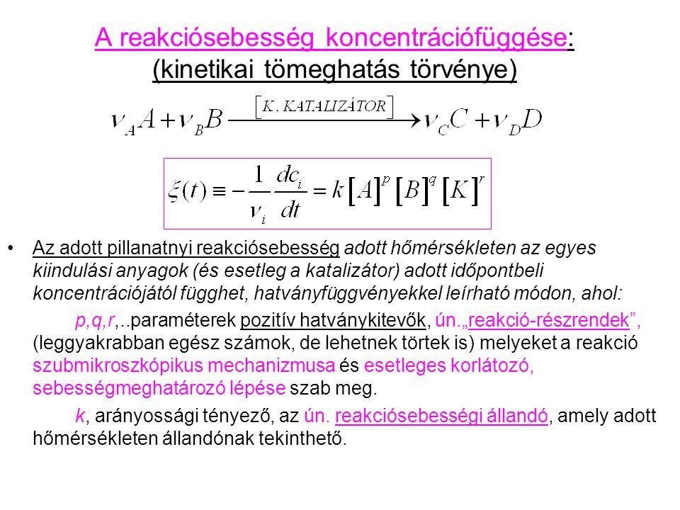 A reakciósebesség koncentrációfüggése: (kinetikai tömeghatás törvénye) Az adott pillanatnyi reakciósebesség adott hőmérsékleten az egyes kiindulási an
