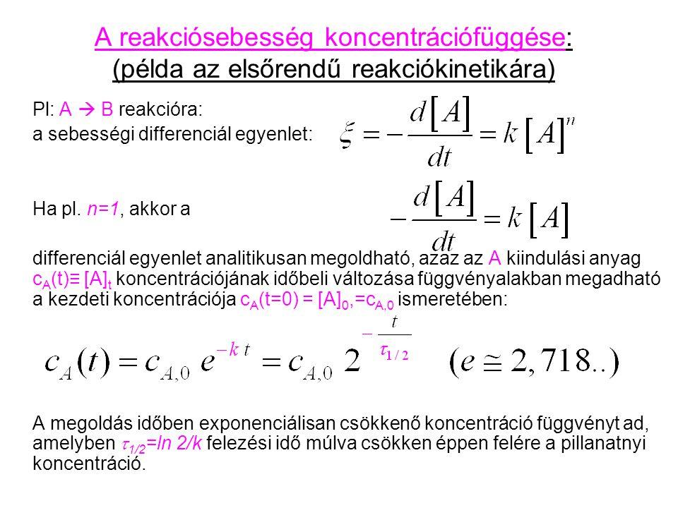 A reakciósebesség koncentrációfüggése: (példa az elsőrendű reakciókinetikára) Pl: A  B reakcióra: a sebességi differenciál egyenlet: Ha pl. n=1, akko