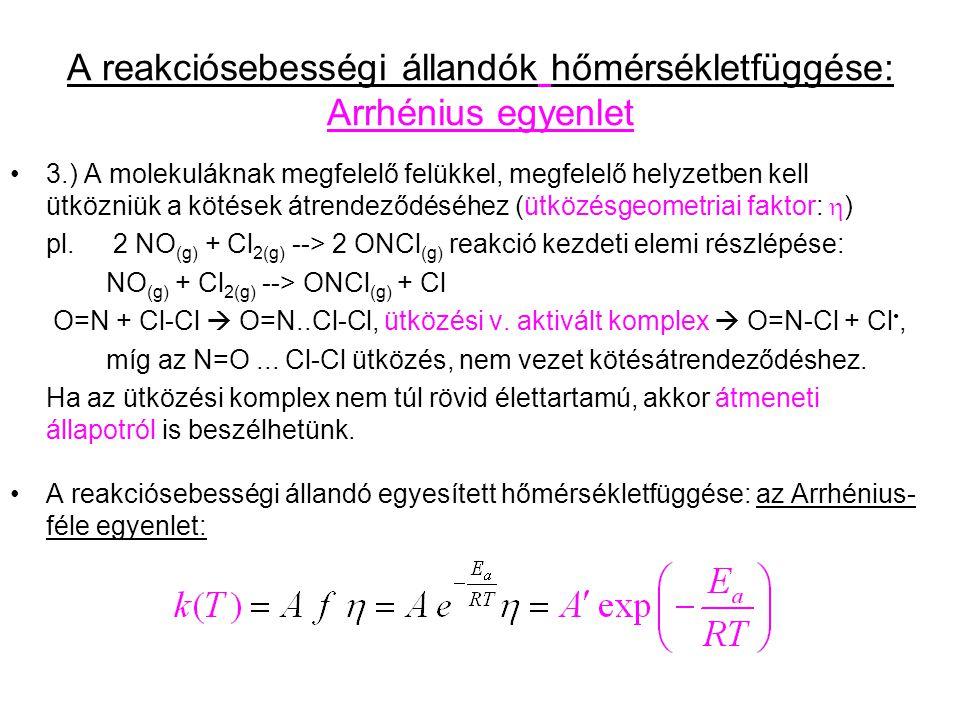 A reakciósebességi állandók hőmérsékletfüggése: Arrhénius egyenlet 3.) A molekuláknak megfelelő felükkel, megfelelő helyzetben kell ütközniük a kötések átrendeződéséhez (ütközésgeometriai faktor:  ) pl.