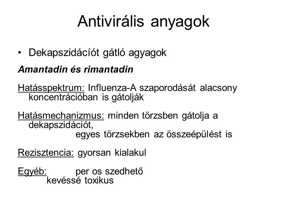 Herpeszvírusok nukleinsav-szintézist gátló anyagok Aciklovir és valaciklovir Hatásspektrum: Produktív EBV - fertőzést gátolja HSV-1,-2 (Herpesz szimplex vírus) VZV Hatásmechanizmus: a vírus DNS-polimerázának kompetitív gátlószere : a herpeszvírus timidin-kináza foszforilálja monofoszfáttá, amit a sejtenzimek továbbalakítanak trifoszfáttá.