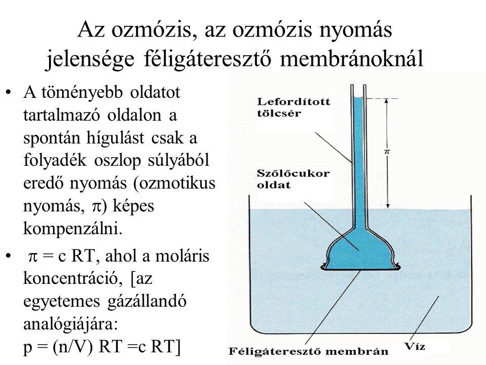 Az ozmózis, az ozmózis nyomás jelensége féligáteresztő membránoknál A töményebb oldatot tartalmazó oldalon a spontán hígulást csak a folyadék oszlop s