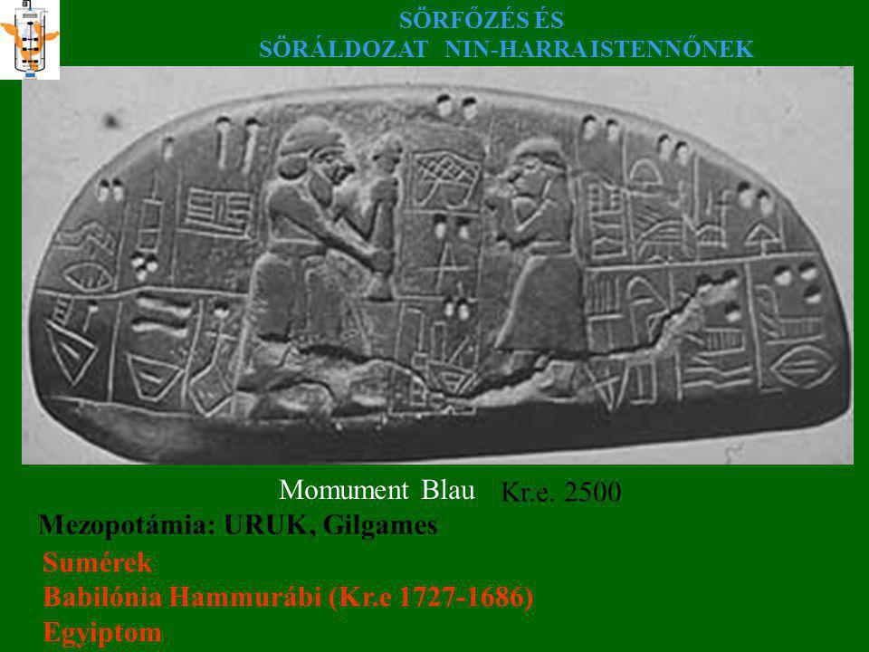 SÖRFŐZÉS ÉS SÖRÁLDOZAT NIN-HARRA ISTENNŐNEK Momument Blau Kr.e. 2500 Mezopotámia: URUK, Gilgames Sumérek Babilónia Hammurábi (Kr.e 1727-1686) Egyiptom