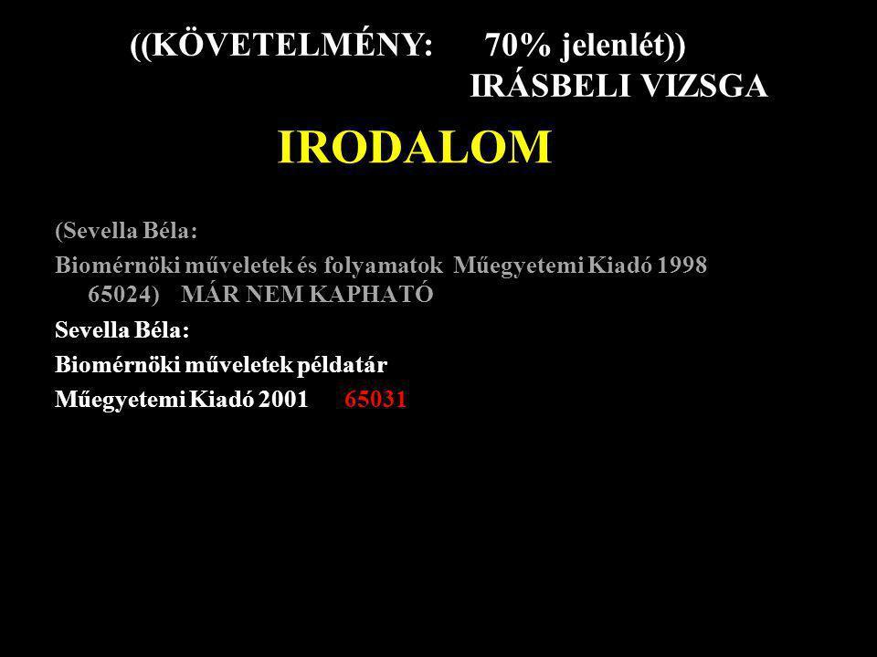 IRODALOM (Sevella Béla: Biomérnöki műveletek és folyamatok Műegyetemi Kiadó 1998 65024) MÁR NEM KAPHATÓ Sevella Béla: Biomérnöki műveletek példatár Mű