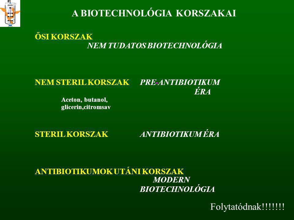 A BIOTECHNOLÓGIA KORSZAKAI ŐSI KORSZAK NEM TUDATOS BIOTECHNOLÓGIA NEM STERIL KORSZAKPRE-ANTIBIOTIKUM ÉRA Aceton, butanol, glicerin,citromsav STERIL KO