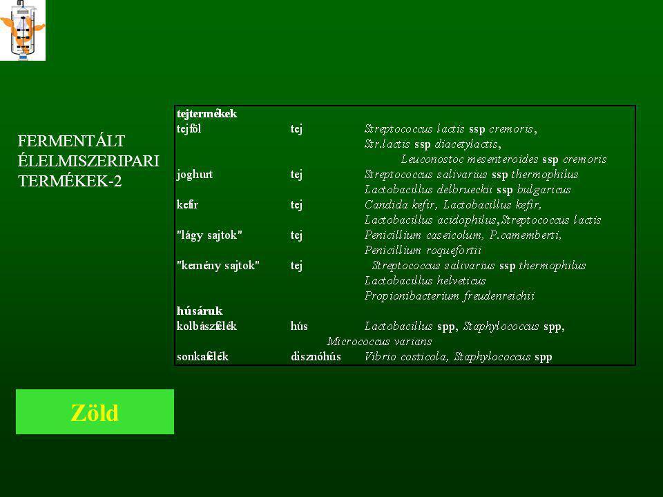 FERMENTÁLT ÉLELMISZERIPARI TERMÉKEK-2 Zöld