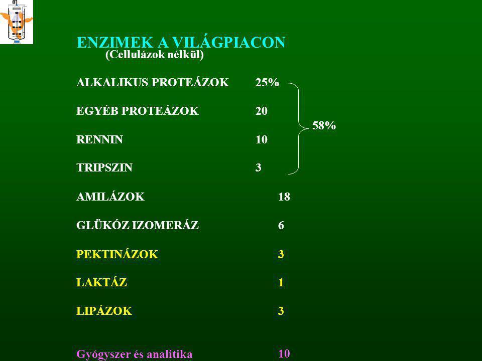 ENZIMEK A VILÁGPIACON (Cellulázok nélkül) ALKALIKUS PROTEÁZOK25% EGYÉB PROTEÁZOK20 58% RENNIN10 TRIPSZIN3 AMILÁZOK18 GLÜKÓZ IZOMERÁZ6 PEKTINÁZOK3 LAKT
