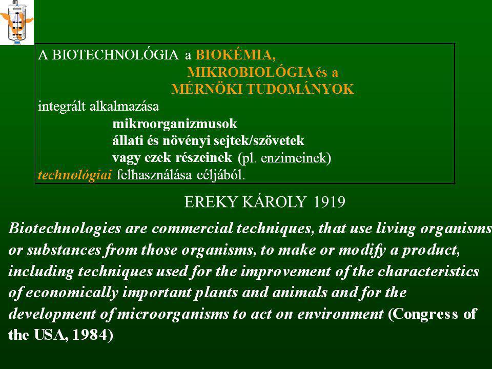 EREKY KÁROLY 1919 A BIOTECHNOLÓGIA a BIOKÉMIA, MIKROBIOLÓGIA és a MÉRNÖKI TUDOMÁNYOK integrált alkalmazása mikroorganizmusok állati és növényi sejtek/