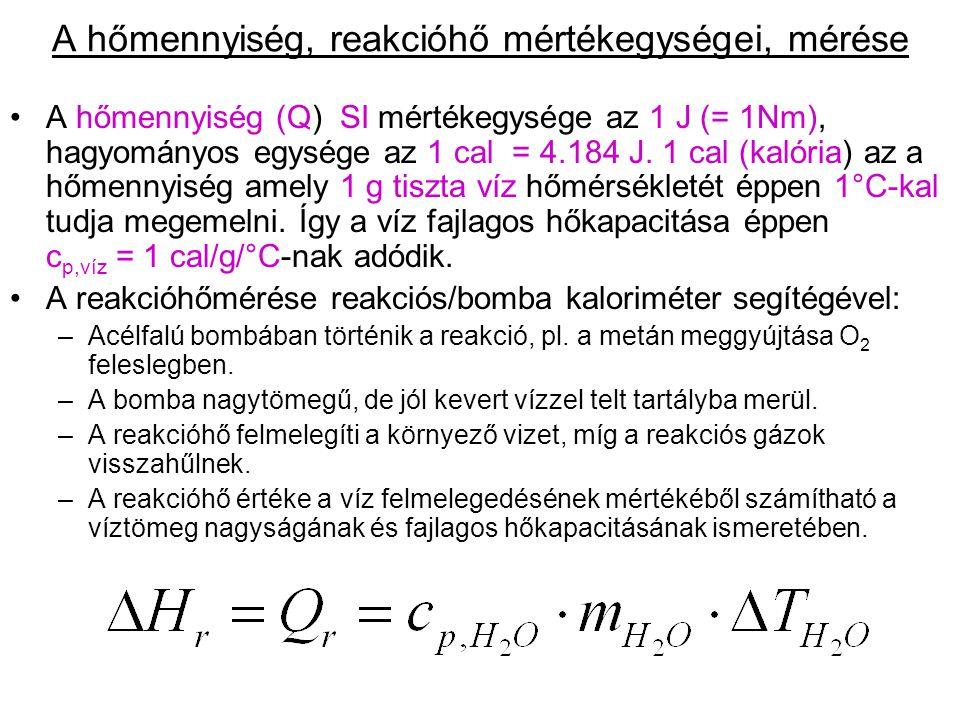 A hőmennyiség (Q) SI mértékegysége az 1 J (= 1Nm), hagyományos egysége az 1 cal = 4.184 J. 1 cal (kalória) az a hőmennyiség amely 1 g tiszta víz hőmér