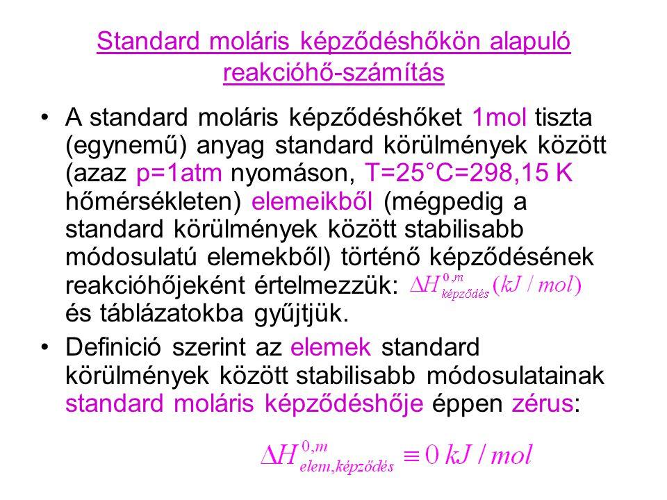 Standard moláris képződéshőkön alapuló reakcióhő-számítás A standard moláris képződéshőket 1mol tiszta (egynemű) anyag standard körülmények között (az