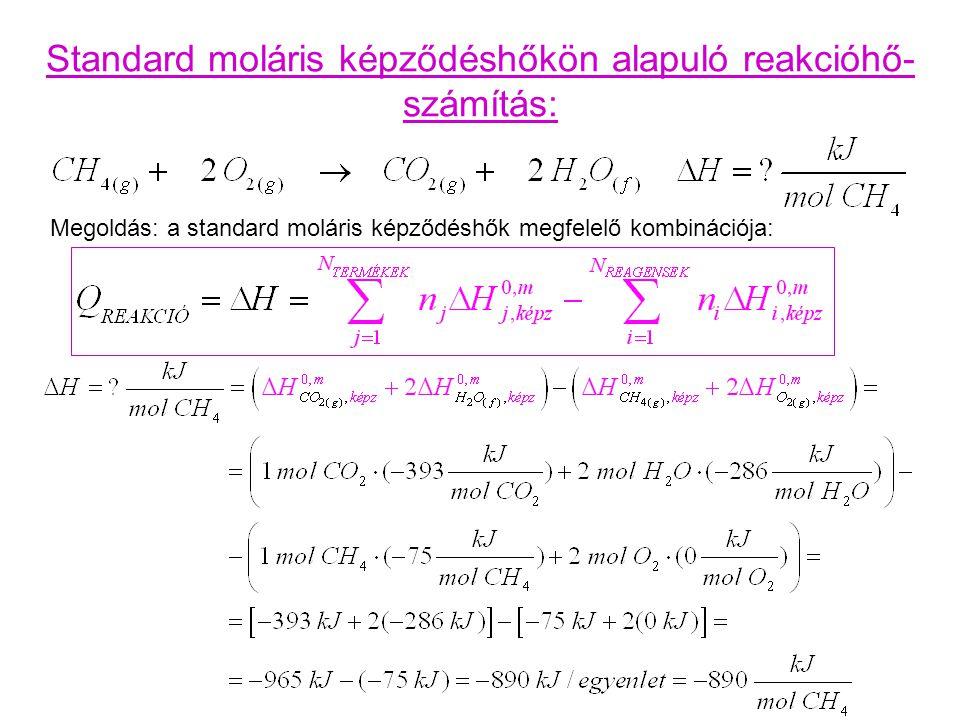Standard moláris képződéshőkön alapuló reakcióhő- számítás: Megoldás: a standard moláris képződéshők megfelelő kombinációja: