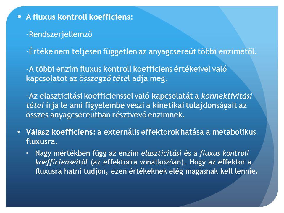 A fluxus kontroll koefficiens: -Rendszerjellemző -Értéke nem teljesen független az anyagcsereút többi enzimétől. -A többi enzim fluxus kontroll koeffi