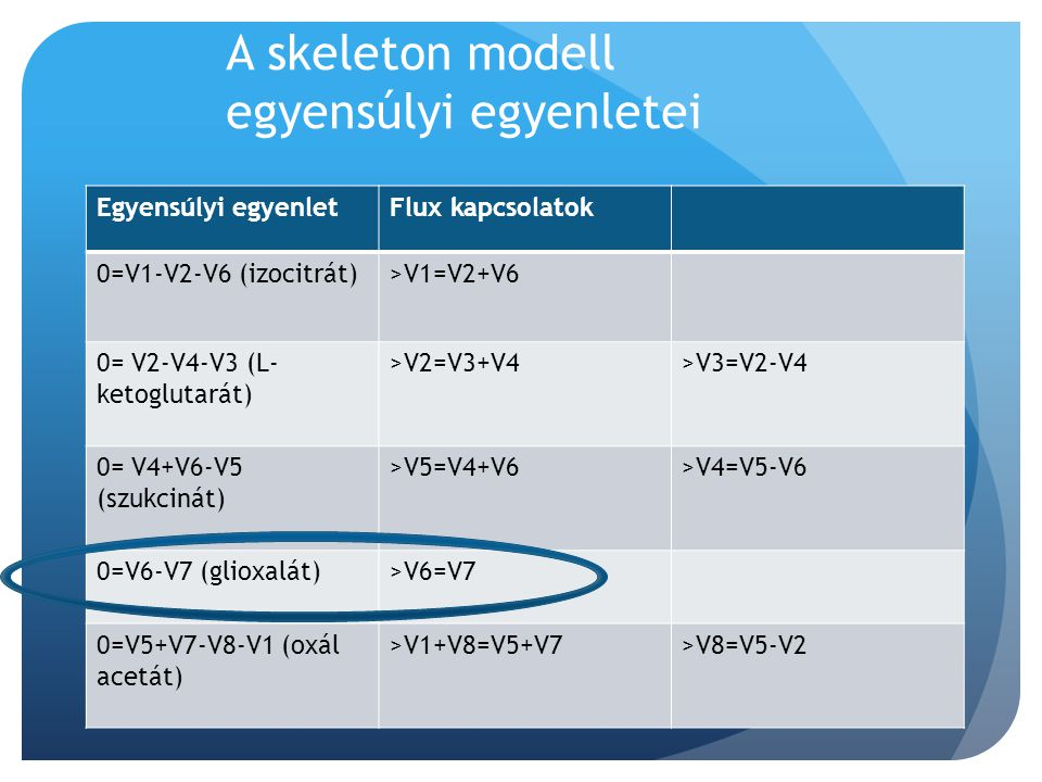 A skeleton modell egyensúlyi egyenletei Egyensúlyi egyenletFlux kapcsolatok 0=V1-V2-V6 (izocitrát)>V1=V2+V6 0= V2-V4-V3 (L- ketoglutarát) >V2=V3+V4>V3