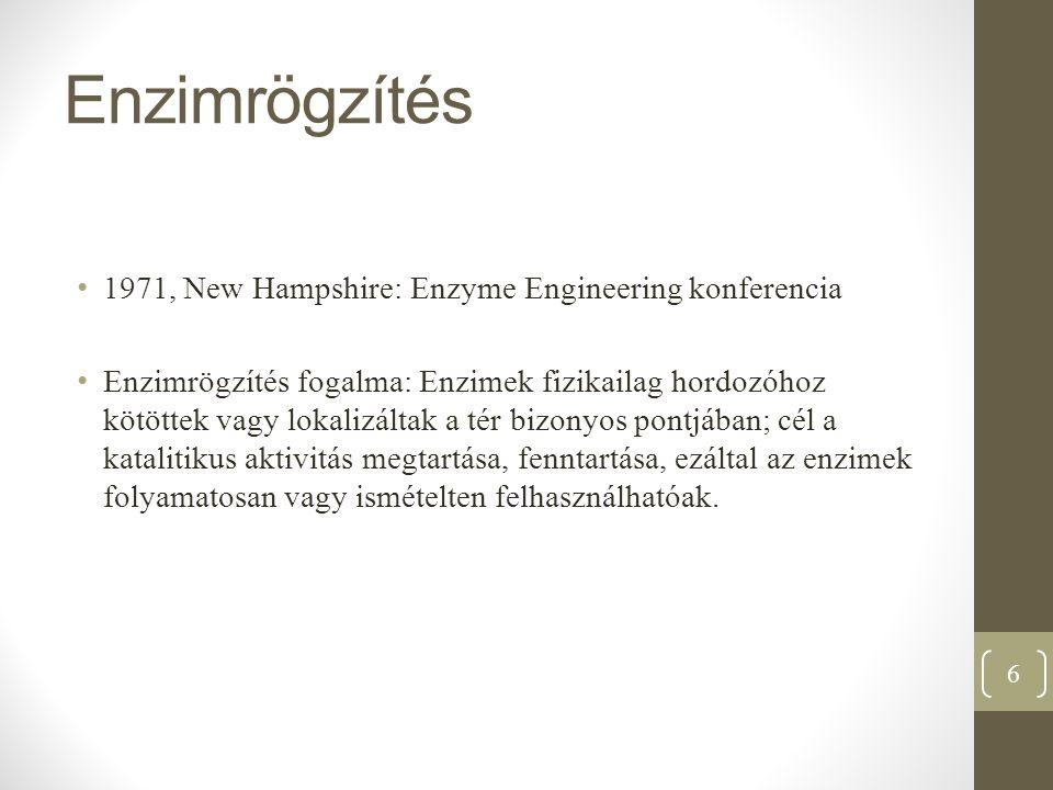 Enzimrögzítés 1971, New Hampshire: Enzyme Engineering konferencia Enzimrögzítés fogalma: Enzimek fizikailag hordozóhoz kötöttek vagy lokalizáltak a té