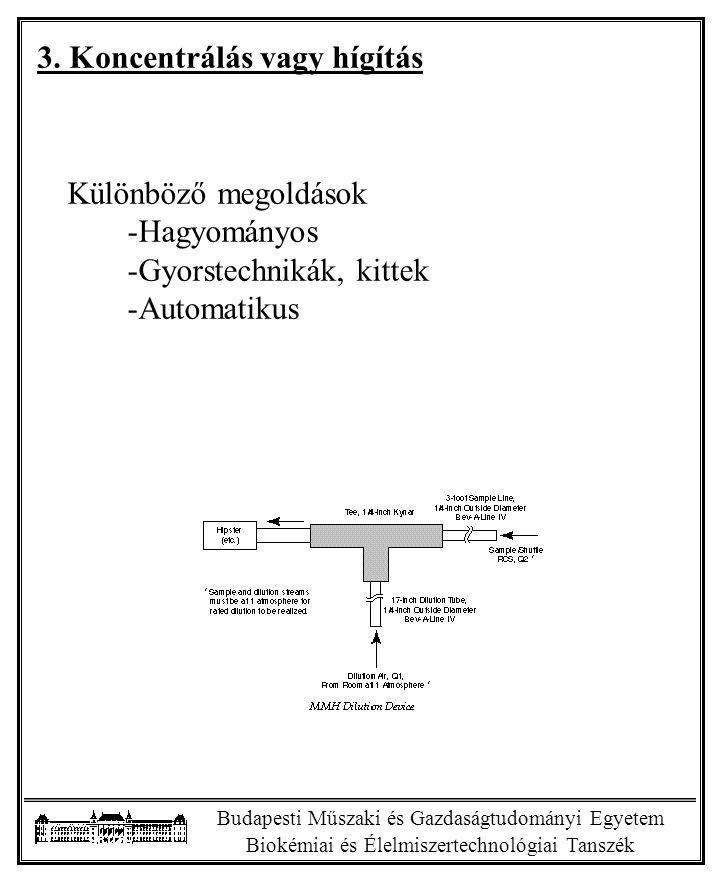 Budapesti Műszaki és Gazdaságtudományi Egyetem Biokémiai és Élelmiszertechnológiai Tanszék 3. Koncentrálás vagy hígítás Különböző megoldások -Hagyomán