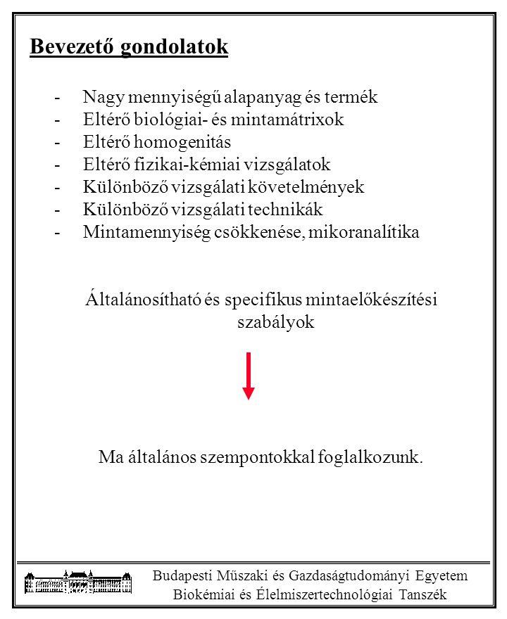 """Budapesti Műszaki és Gazdaságtudományi Egyetem Biokémiai és Élelmiszertechnológiai Tanszék A mintaelőkészítés """"feladatai lehetnek -Mintaennyiség csökkentése - -Őrlés -Keverés -Homogenizálás -Extrakció, komponensek kivonása -Zavaró komponensek eltávolítása -Szűrés -Hígítás vagy koncentrálás -Enzimek inaktivizálása -Lipidoxidció elleni védelem -Mikrobiológiai és kémiai átszennyeződés -Kolloid bontás -Színtelenítés -Stb."""