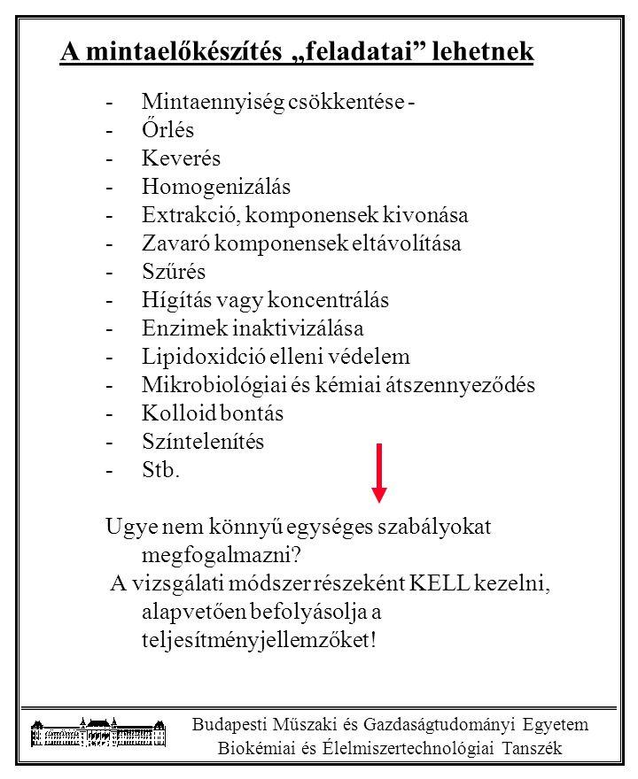 """Budapesti Műszaki és Gazdaságtudományi Egyetem Biokémiai és Élelmiszertechnológiai Tanszék A mintaelőkészítés """"feladatai"""" lehetnek -Mintaennyiség csök"""