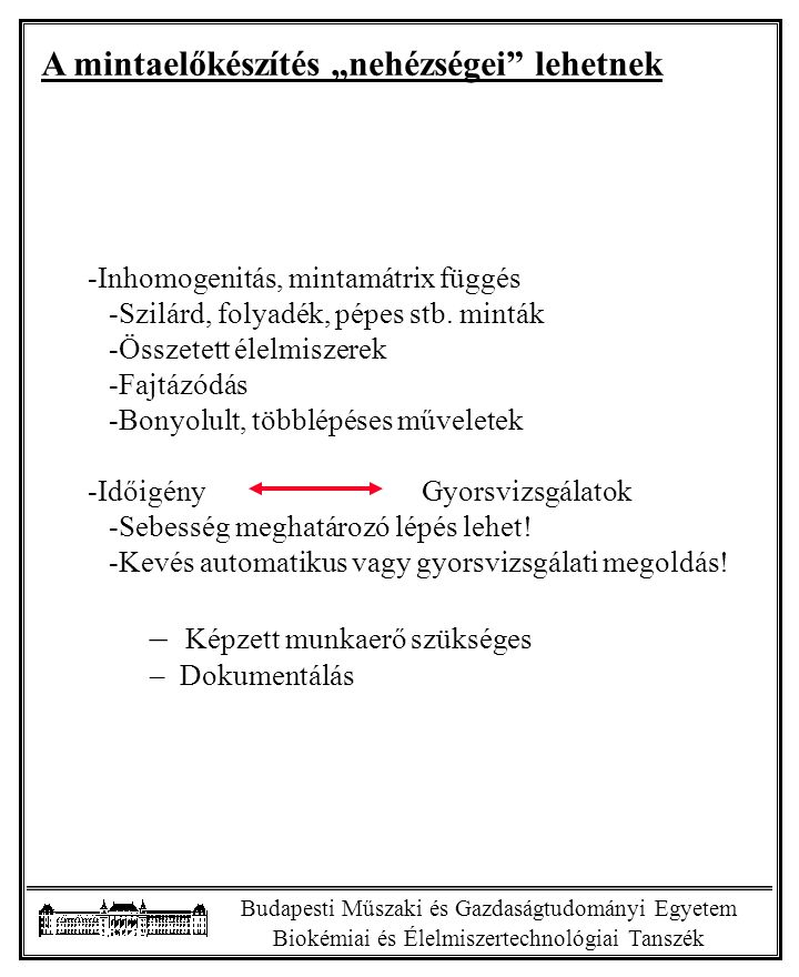 """Budapesti Műszaki és Gazdaságtudományi Egyetem Biokémiai és Élelmiszertechnológiai Tanszék A mintaelőkészítés """"nehézségei"""" lehetnek -Inhomogenitás, mi"""