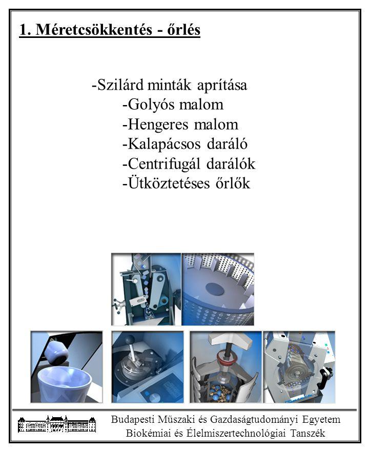 Budapesti Műszaki és Gazdaságtudományi Egyetem Biokémiai és Élelmiszertechnológiai Tanszék 1.
