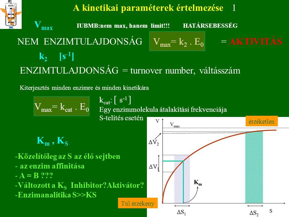 A kinetikai paraméterek értelmezése 1 V max IUBMB:nem max,hanem Limit!!! HATÁRSEBESSÉG