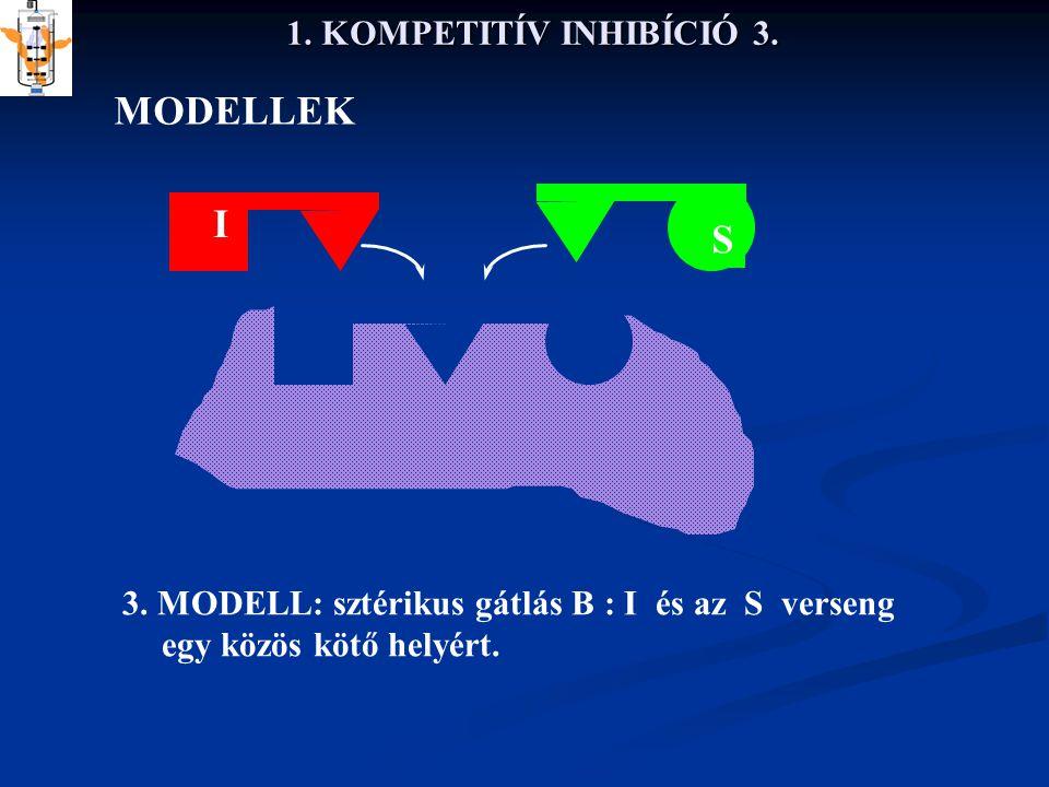 1. KOMPETITÍV INHIBÍCIÓ 3. MODELLEK 3. MODELL: sztérikus gátlás B : I és az S verseng egy közös kötő helyért. S I