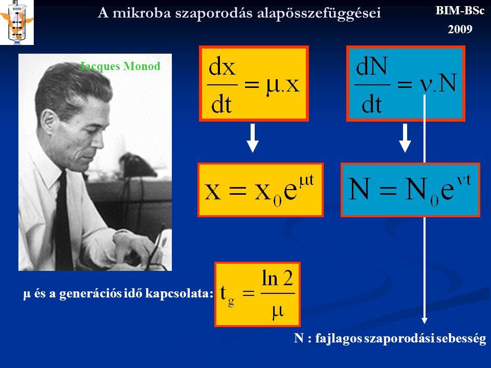 A mikroba szaporodás alapösszefüggései VALÓSÁG x t x0x0 BIM-BSc 2009