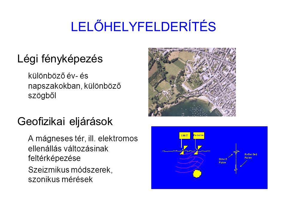 LELŐHELYFELDERÍTÉS Légi fényképezés különböző év- és napszakokban, különböző szögből Geofizikai eljárások A mágneses tér, ill. elektromos ellenállás v