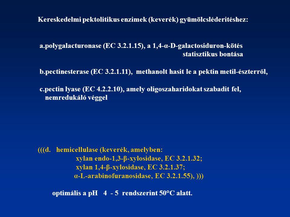 Kereskedelmi pektolitikus enzimek (keverék) gyümölcsléderitéshez: a.polygalacturonase (EC 3.2.1.15), a 1,4-α-D-galactosiduron-kötés statisztikus bontá