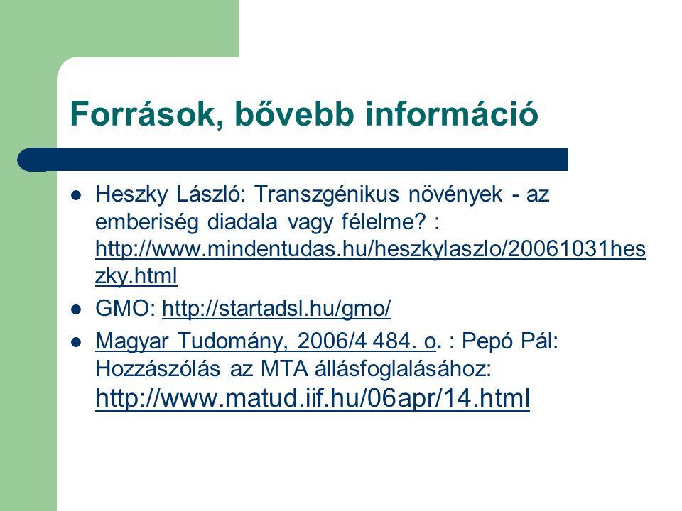 Források, bővebb információ Heszky László: Transzgénikus növények - az emberiség diadala vagy félelme? : http://www.mindentudas.hu/heszkylaszlo/200610