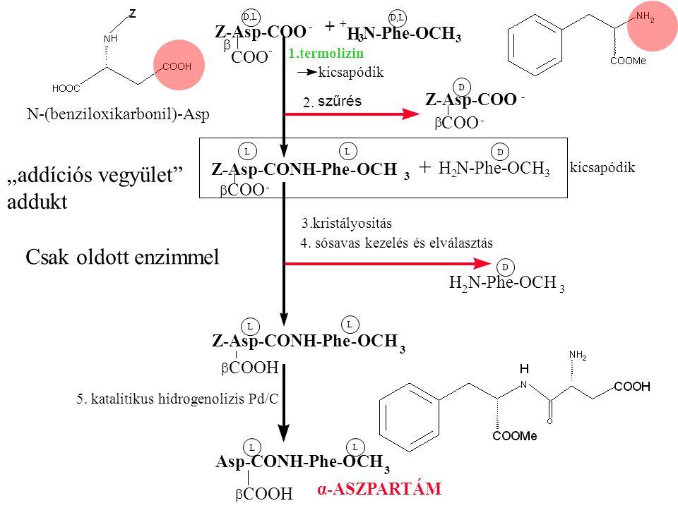 100-200x Z-Asp-COO - + + H 3 N-Phe-OCH 3  COO - D,L 1.termolizin kicsapódik 2.