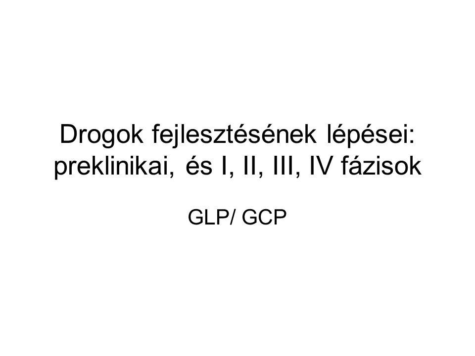 Drogok fejlesztésének lépései: preklinikai, és I, II, III, IV fázisok GLP/ GCP