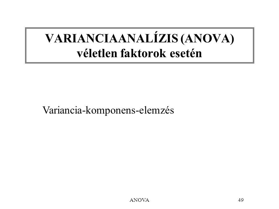 ANOVA49 VARIANCIAANALÍZIS (ANOVA) véletlen faktorok esetén Variancia-komponens-elemzés