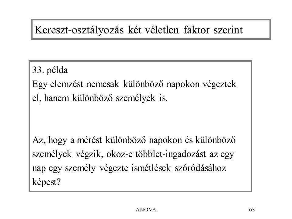 ANOVA63 Kereszt-osztályozás két véletlen faktor szerint 33.