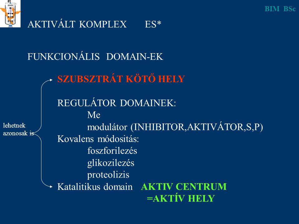 AKTIVÁLT KOMPLEX ES* FUNKCIONÁLIS DOMAIN-EK SZUBSZTRÁT KÖTŐ HELY REGULÁTOR DOMAINEK: Me modulátor (INHIBITOR,AKTIVÁTOR,S,P) Kovalens módositás: foszforilezés glikozilezés proteolizis Katalitikus domain AKTIV CENTRUM =AKTÍV HELY lehetnek azonosak is BIM BSc