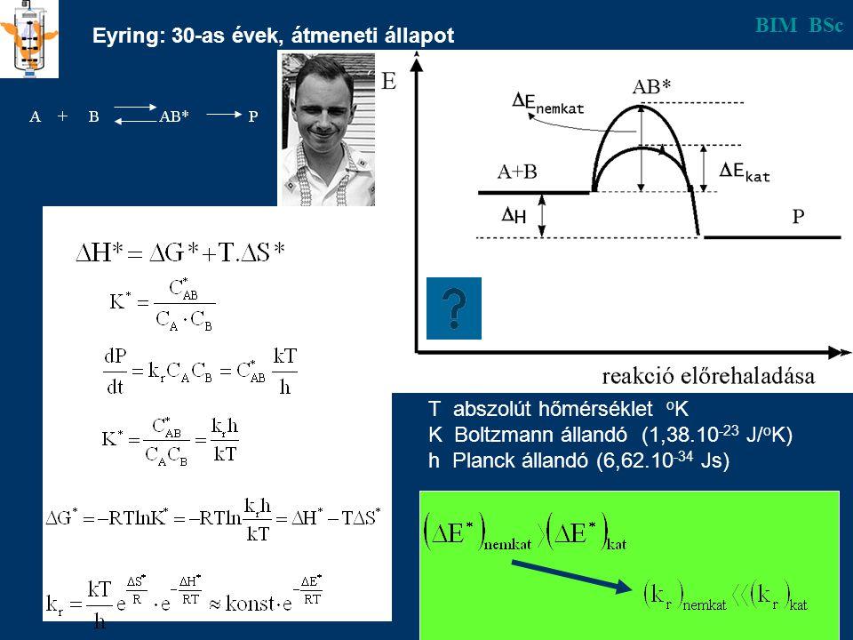 b Eyring: 30-as évek, átmeneti állapot BIM BSc T abszolút hőmérséklet o K K Boltzmann állandó (1,38.10 -23 J/ o K) h Planck állandó (6,62.10 -34 Js)