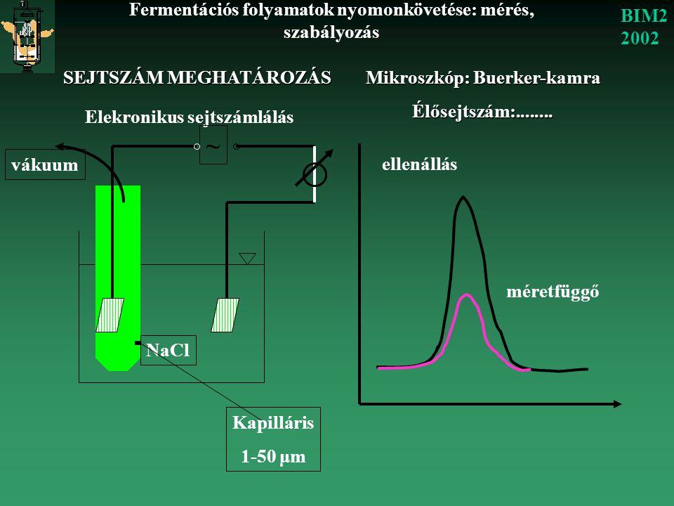 Fermentációs folyamatok nyomonkövetése: mérés, szabályozás BIM2 2002 SEJTSZÁM MEGHATÁROZÁS Mikroszkóp: Buerker-kamra Élősejtszám:........ Elekronikus