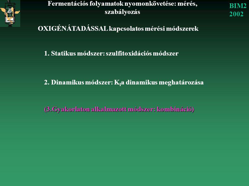 Fermentációs folyamatok nyomonkövetése: mérés, szabályozás BIM2 2002 OXIGÉNÁTADÁSSAL kapcsolatos mérési módszerek 1. Statikus módszer: szulfitoxidáció