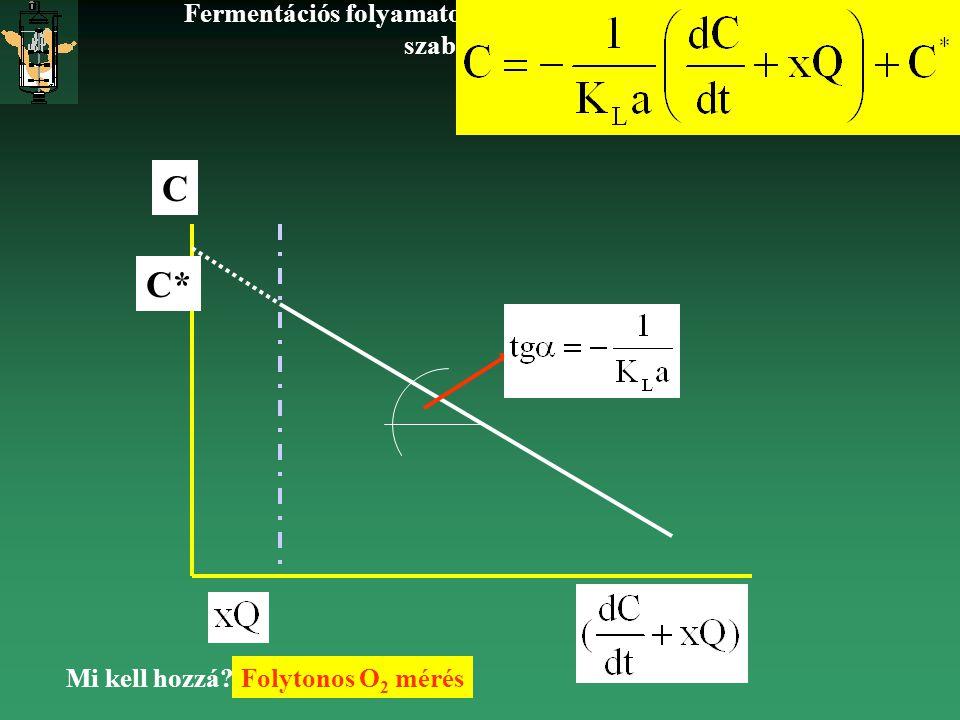 Fermentációs folyamatok nyomonkövetése: mérés, szabályozás BIM2 2002 C* C Mi kell hozzá?Folytonos O 2 mérés