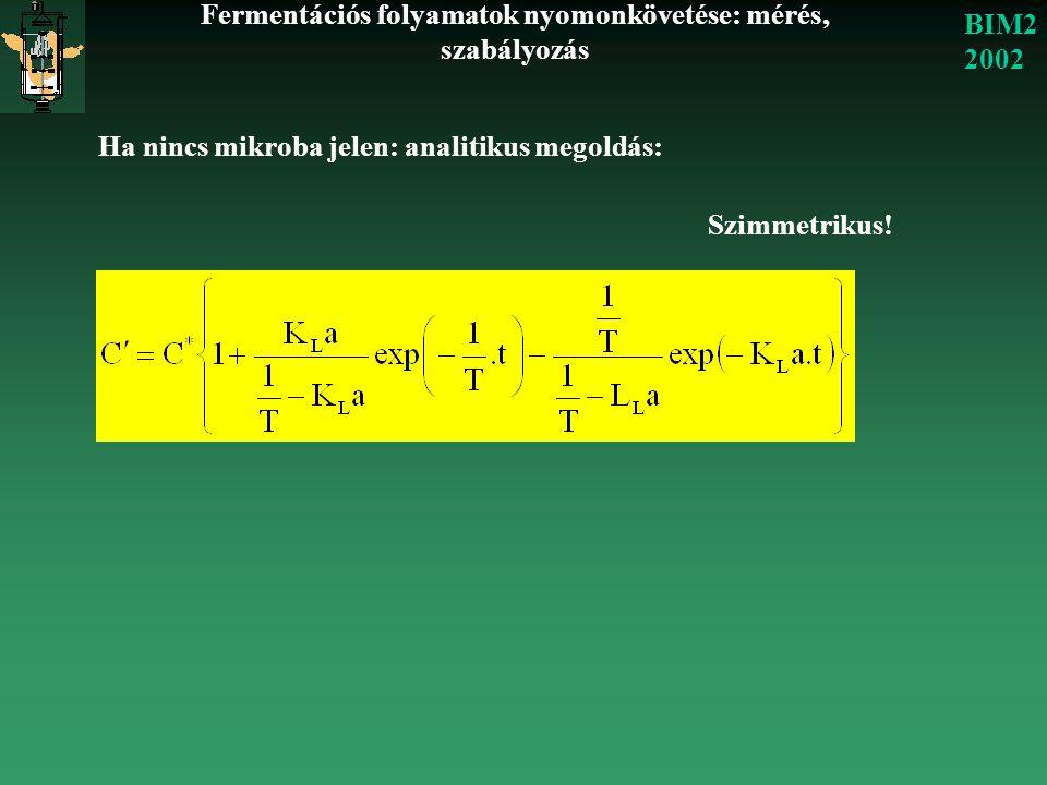 Fermentációs folyamatok nyomonkövetése: mérés, szabályozás BIM2 2002 Ha nincs mikroba jelen: analitikus megoldás: Szimmetrikus!