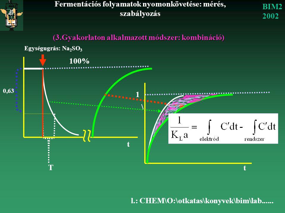Fermentációs folyamatok nyomonkövetése: mérés, szabályozás BIM2 2002 (3.Gyakorlaton alkalmazott módszer: kombináció) Egységugrás: Na 2 SO 3 T 0,63 1 t