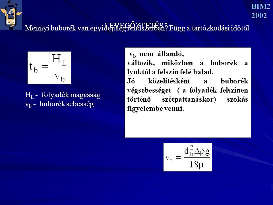 LEVEGŐZTETÉS 3 BIM2 2002 Mennyi buborék van egyidejűleg rendszerben.